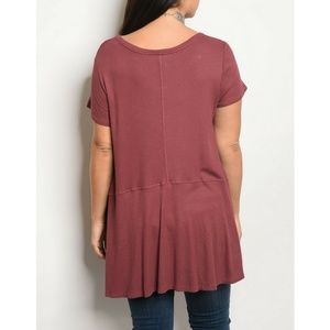 Coverstitched Tops - Mauve Plus Size Jersey Top {Coverstitched}